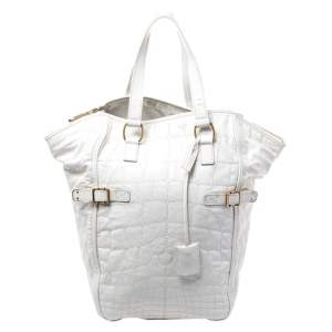 Yves Saint Laurent White Croc Embossed Patent Leather Medium Downtown Tote