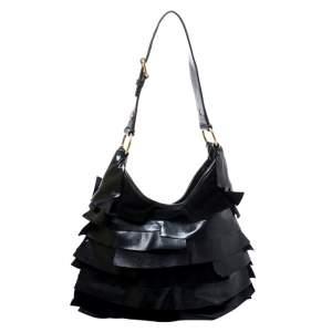 Yves Saint Laurent Black Suede and Patent Leather St. Tropez Shoulder Bag