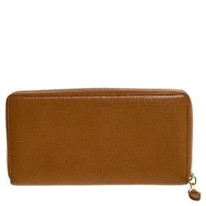 Saint Laurent Paris Yellow Leather Zip Around Wallet