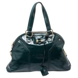 Yves Saint Laurent Green Leather Large Muse Satchel