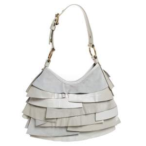 Yves Saint Laurent Cream Suede/Leather and Patent Leather St. Tropez Hobo