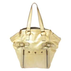 Yves Saint Laurent Metallic Yellow Patent Leather Small Downtown Tote