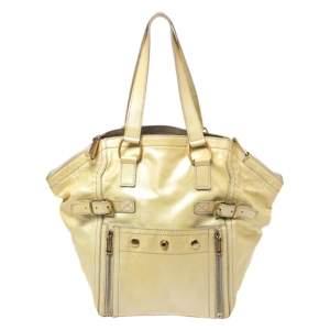 حقيبة سان لوران باريس داون تاون جلد أصفر ميتالليك صغيرة