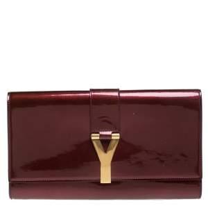 Yves Saint Laurent Burgundy Patent Leather Y-Ligne Clutch