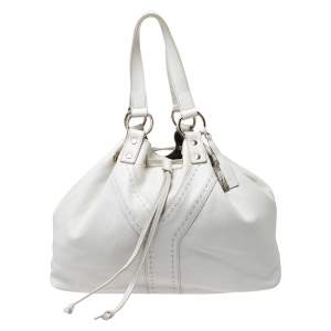 Yves Saint Laurent White/Grey Leather Reversible Double Sac Y Tote