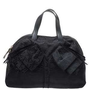 Yves Saint Laurent Black Nylon and Leather Duffle Bag