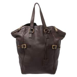Yves Saint Laurent Dark Brown Leather Large Downtown Tote