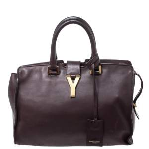 Saint Laurent Burgundy Leather Small Cabas Y-Ligne Tote