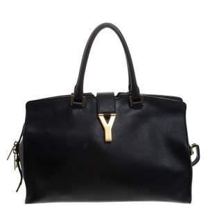 Saint Laurent Black Leather Medium Cabas Y-Ligne Tote