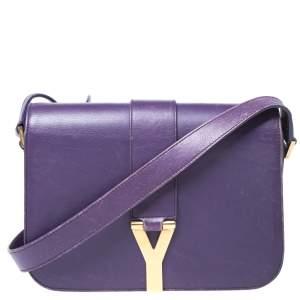 Saint Laurent Paris Purple Leather Ligne Y Charm Crossbody Bag