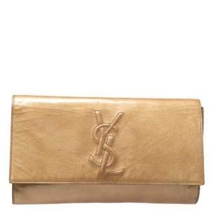Yves Saint Laurent Light Yellow Patent Leather Belle De Jour Clutch