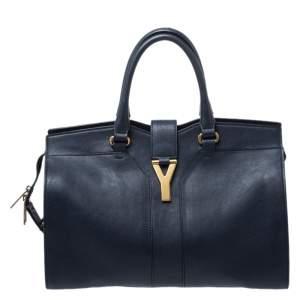 Saint Laurent Navy Blue Leather Medium Cabas Chyc Satchel