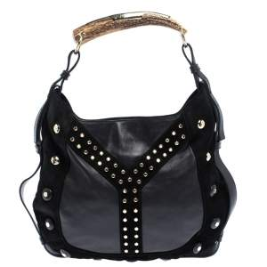 Saint Laurent Paris Black Leather and Suede Studded Mombasa Hobo
