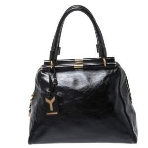 Yves Saint Laurent Black Patent Leather Medium Majorelle Satchel