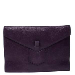 Yves Saint Laurent Purple Leather Y Envelope Clutch