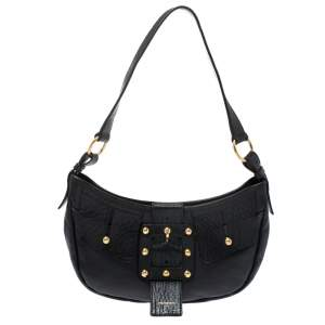 Yves Saint Laurent Black Leather Saharienne Hobo