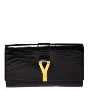 Saint Laurent Black Patent Leather Y-Ligne Clutch