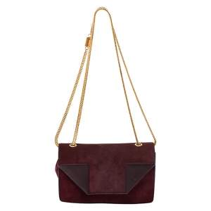 Saint Laurent Burgundy Suede and Leather Betty Shoulder Bag