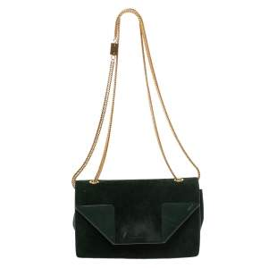 Saint Laurent Green Suede and Leather Betty Shoulder Bag
