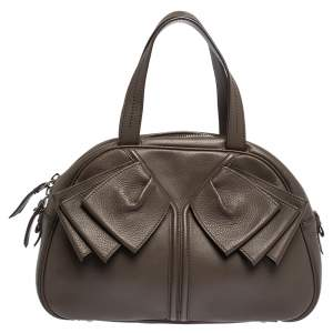 Yves Saint Laurent Brown Leather Obi Bow Satchel