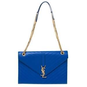 Saint Laurent Blue Matelassé Leather Large Cassandre Flap Bag