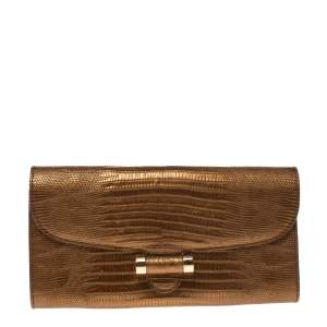 Saint Laurent Gold Embossed Leather Muse Clutch