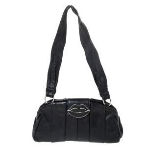 Yves Saint Laurent Black Pleated Leather Lips Flap Shoulder Bag