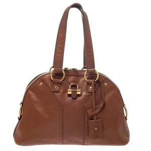 Saint Laurent Brown Leather Muse Satchel