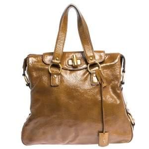 Saint Laurent Tan Patent Leather Muse Messenger Bag