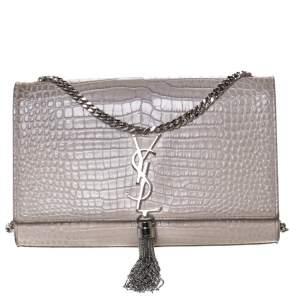 Saint Laurent Vanilla Croc Embossed Leather Medium Kate Tassel Shoulder Bag