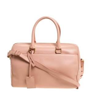 Saint Laurent Paris Coral Orange Leather Classic Duffle 6 Bag