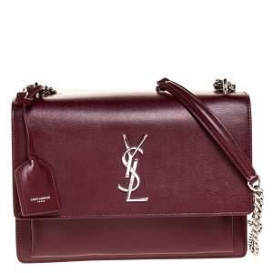 Saint Laurent Wine Red Leather Medium Sunset Shoulder Bag