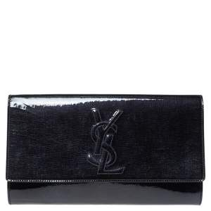 Yves Saint Laurent Deep Green Patent Leather Belle De Jour Flap Clutch