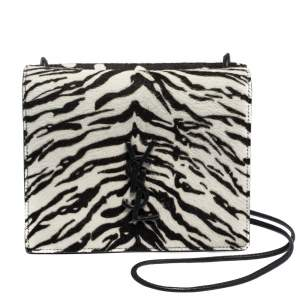 Saint Laurent Paris Black/White Calfhair and Leather Crossbody Bag