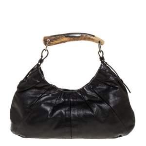 Saint Laurent Black Leather Mombasa Hobo