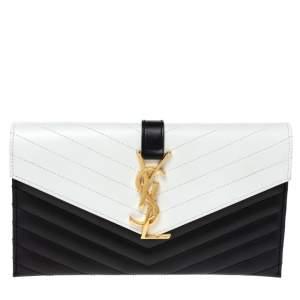 Saint Laurent Black/White Matelassé Leather Envelope Clutch
