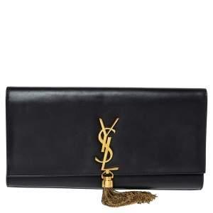 Saint Laurent Black Leather Kate Tassel Clutch