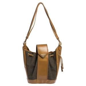 Yves Saint Laurent Tan Leather and Fabric Drawstring Bucket Bag