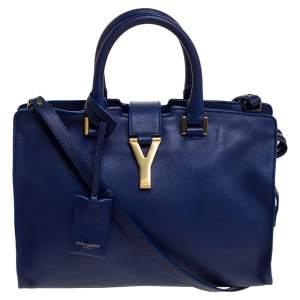 Saint Laurent Blue Leather Small Cabas Ligne Y Tote
