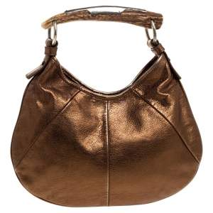 Yves Saint Laurent Golden Brown Leather Mombasa Hobo