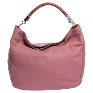Yves Saint Laurent Pink Leather and Crocodile Large Roady Hobo