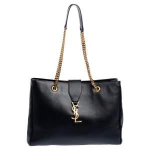 Saint Laurent Black Leather Cassandre Chain Strap Shopper Tote