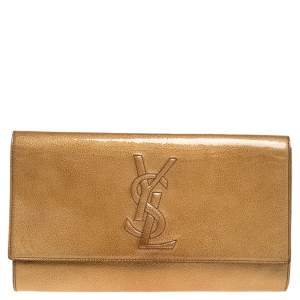 Yves Saint Laurent Cream Patent Leather Belle de Jour Flap Clutch