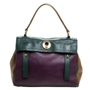 Saint Laurent Multicolor Leather and Suede Medium Muse Two Satchel