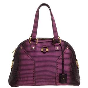 Yves Saint Laurent Purple Ombre Croc Embossed Nubuck Leather Medium Muse Satchel