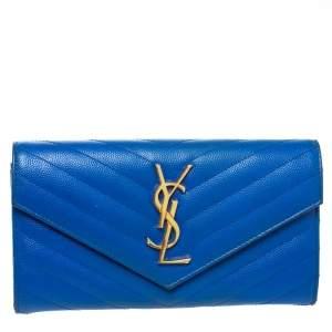 Saint Laurent Blue Matelassé Leather Monogram Flap Wallet