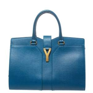 Saint Laurent Blue Leather Medium Cabas Chyc Tote