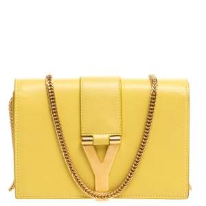 Saint Laurent Yellow Leather Y-Ligne Wallet on Chain