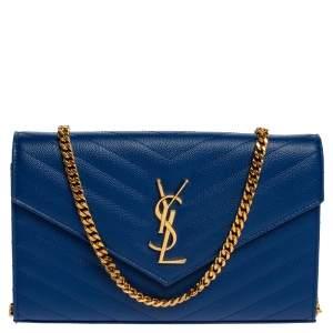 Saint Laurent Blue Matelasse Leather Monogram Envelope Wallet on Chain