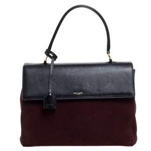Saint Laurent Burgundy/Black Suede and Leather Medium Moujik Tote